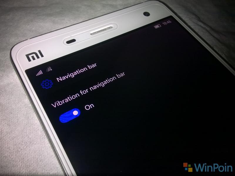 Cara Menonaktifkankan Getar pada Navigasi Bar Xiaomi Mi4 Windows 10 Mobile