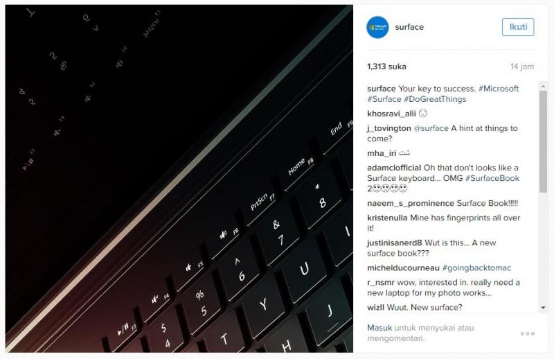 Gambar dari Engsel & Keyboard Surface Book 2 Muncul di Akun Instagram Microsoft