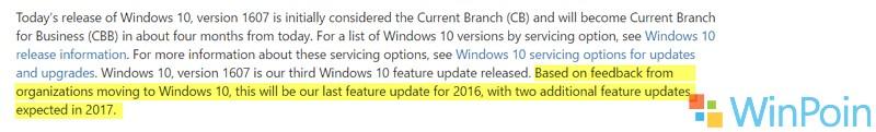Microsoft: Akan Ada 2 Update Besar Pada Tahun 2017