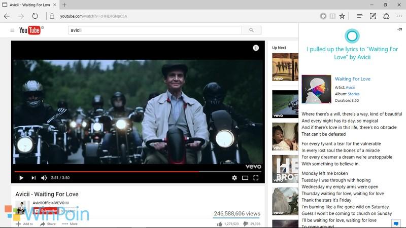 Cara agar Cortana Dapat Mencarikan Lirik Lagu yang Sedang Kamu Putar di YouTube (Microsoft Edge)