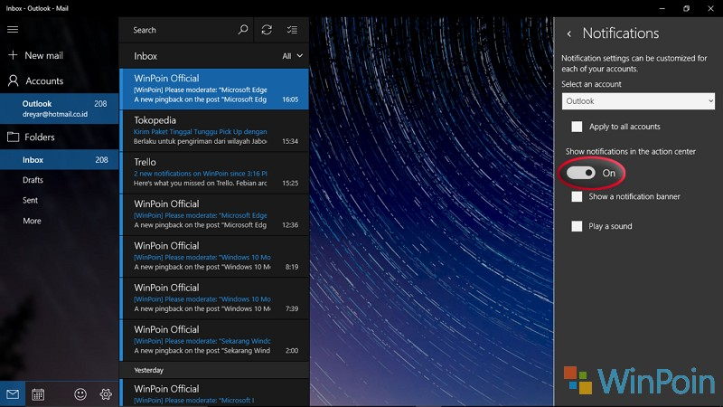 Cara agar Notifikasi Email tak Muncul di Action Center Windows 10