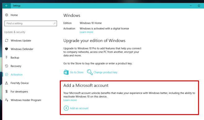 Cara menghubungkan lisensi Windows 10 ke Microsoft Account