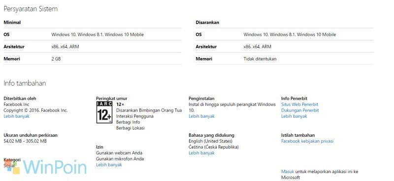 Facebook Windows 10 Mobile Membutuhkan RAM 2GB?