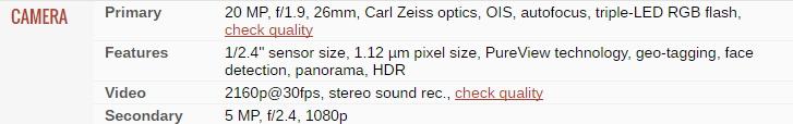 Spek Kamera Lumia 950