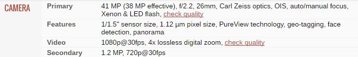 Spek Kamera Lumia 1020