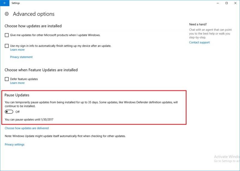 """Fitur """"Pause"""" di Windows Update akan Tersedia Pada Build 14997"""