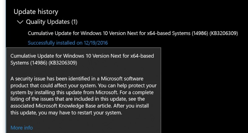 Microsoft Merilis Windows 10 Creators Update Build 14986.1001