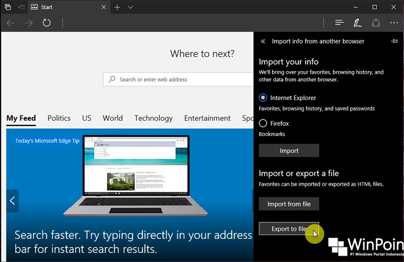 Cara Export Favorites dari Microsoft Edge (3)