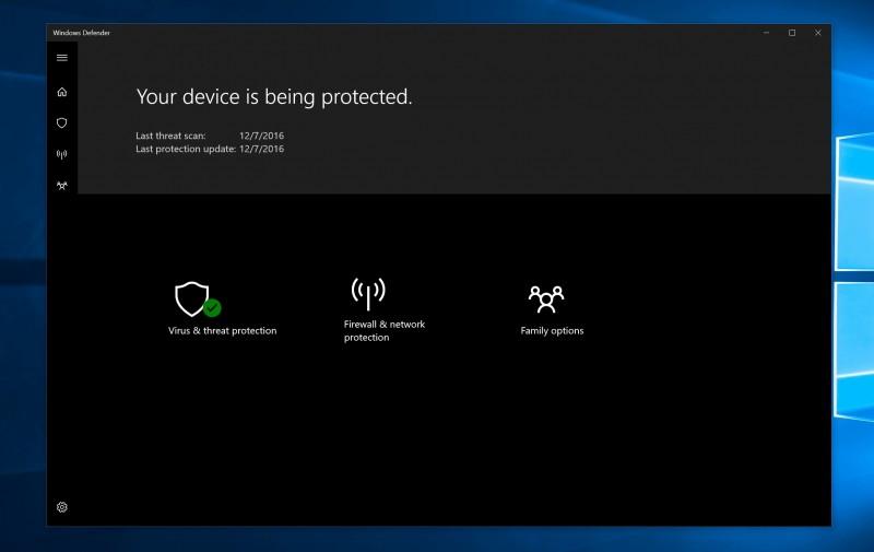 Windows Defender Security Center untuk WIndows 10 Creators Update,