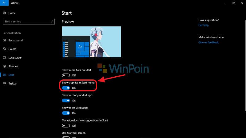 Cara Memunculkan dan Menyembunyikan App List di Windows 10 Creatros Update