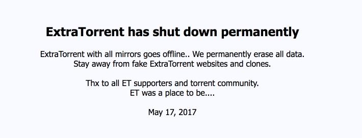 ExtraTorrent Ditutup — MatiLagi Satu Situs Torrent Besar
