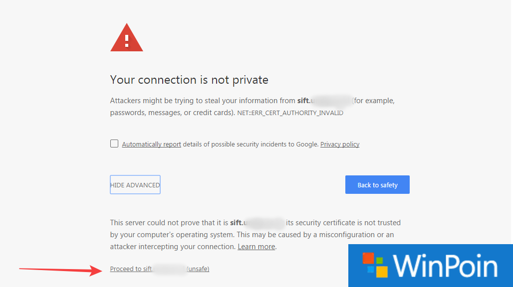 Solusi Error Google Chrome Your Connection is Not Private
