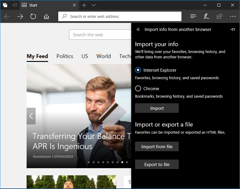 Cara Impor Data dari Browser Lain ke Microsoft Edge di Windows 10 Creators Update