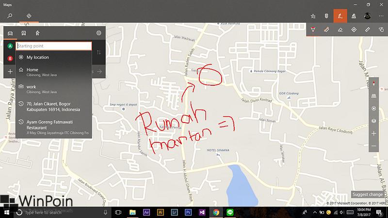 Memaksimalkan Fitur Windows Ink pada Aplikasi Maps Windows 10 (1)