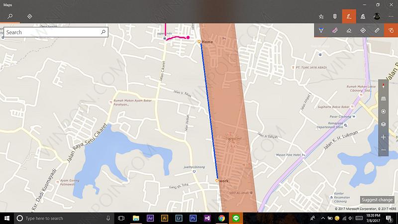 Memaksimalkan Fitur Windows Ink pada Aplikasi Maps Windows 10 (5)