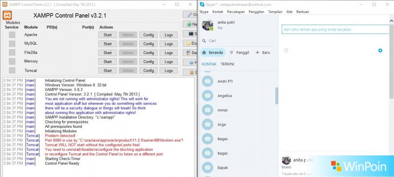 """Sebelum dipindahkan ke server hosting, website harus diuji terlebih dahulu di server offline dengan aplikasi misalnya, Xampp yang memiliki beberapa program antara lain Apache Server, Database MySQL, serta bahasa pemrograman PHP dan Perl. Sehingga, pekerjaan dimudahkan karena kita dapat mengkonfigurasi ketiga program tersebut sekaligus.  Setelah diaktifkan apache dan MySQL di control panel Xampp, eh, lha kok ada peringatan bahwa port Apache udah digunakan Skype. Dan dengan terpaksa, harus log out Skype agar Skype bisa ditutup. Hmm... pernah gak sih ngalamin seperti itu?. Jengkel banget, kan? Karena setiap kali nyalain apache harus logout Skype terlebih dahulu. Nah, buat kalian yang ngerasain hal yang sama, hukumnya wajib nih ngikutin langkah dibawah ini:  1. Buka Skype, lalu pilih option Privasi di menu Skype  2. Dalam option Privasi tersebut, pilih Lanjutan dan selanjutnya pilih option Koneksi  3. Pada option Koneksi, hilangkan centang di kalimat """"Gunakan 80 dan 443 sebagai koneksi masuk tambahan"""". Jangan lupa simpan, ya?  Ok, setelah semua selesai coba close Skype dan buka lagi bersamaan dengan Xampp. Sudah tidak ada notif merah yang menjengkelkan lagi, kan?. Kamu bisa menguji coba website kamu dan tentunya bisa ber-skype ria dengan teman-temanmu.   Kamu memiliki cara lain buat mengatasi hal tersebut? Jika ada, bagikan pengalamanmu di kolom komentar, ya?"""