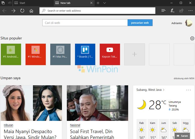 Cara Mengubah Bahasa dan Konten di Microsoft Edge