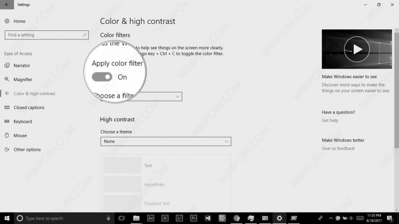 Cara Mengaktifkan Color Filter di Windows 10 (4)