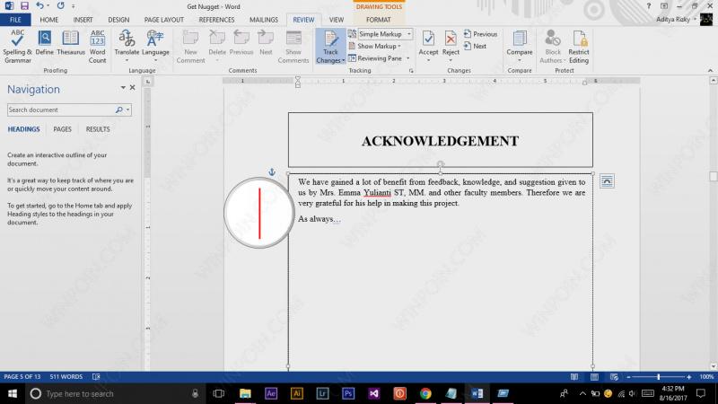Cara Mengetahui Perubahan pada File Word (3)