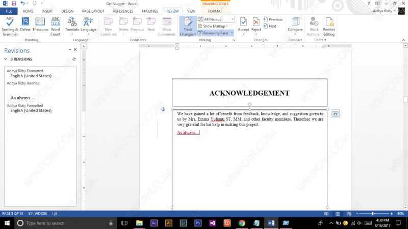 Cara Mengetahui Perubahan pada File Word (5)