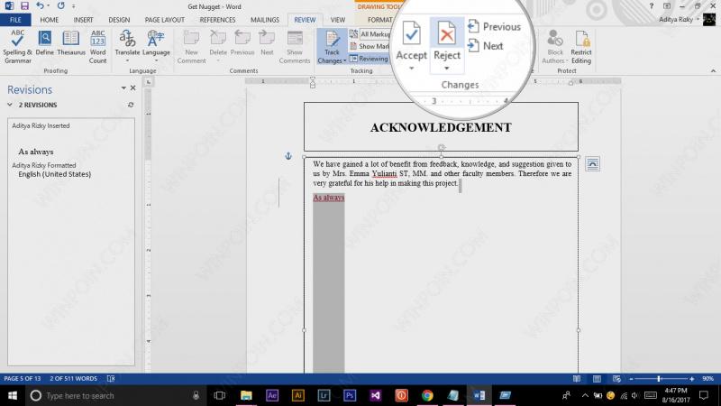 Cara Mengetahui Perubahan pada File Word (6)