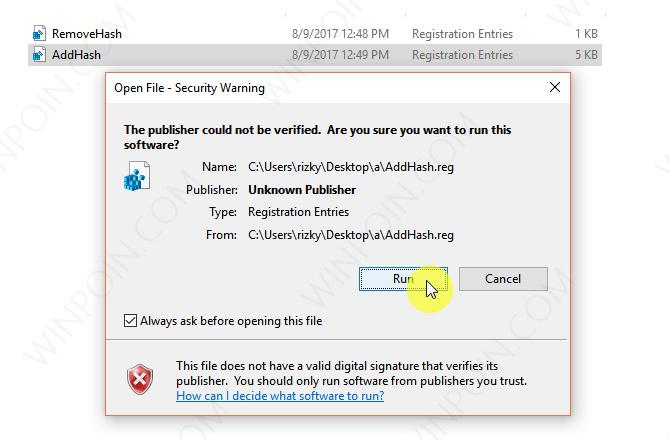 Tweak - Menambahkan Opsi Hash Pada Konteks Menu Windows 10 (2)