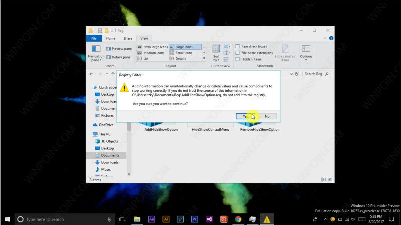Tweak - Menambahkan Opsi Hide Show File pada Konteks Menu Windows 10 (4)
