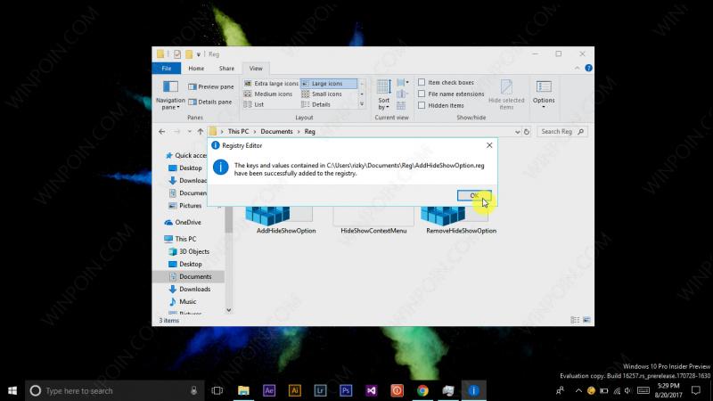 Tweak - Menambahkan Opsi Hide Show File pada Konteks Menu Windows 10 (5)