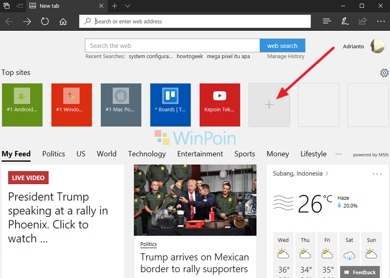 Cara Menambahkan Website ke Menu Top Sites di Microsoft Edge