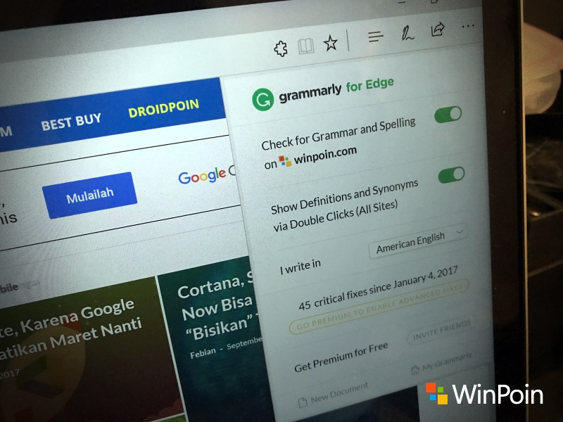 Ekstensi Grammarly Sudah Hadir ke Microsoft Edge (Review)