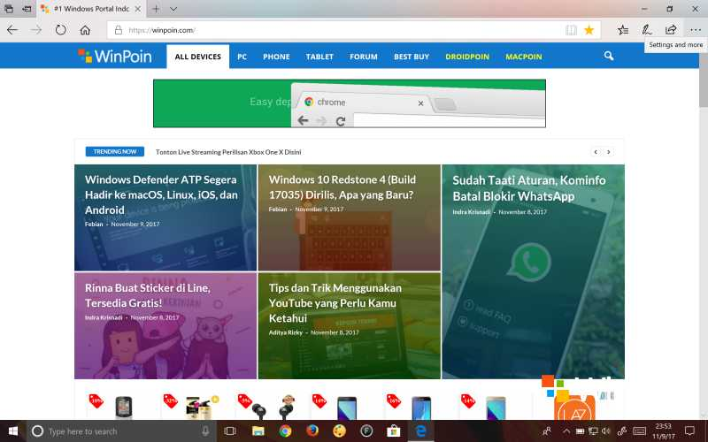 Tampilan Edge di Windows 10