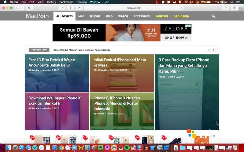 Tampilan Safari di macOS