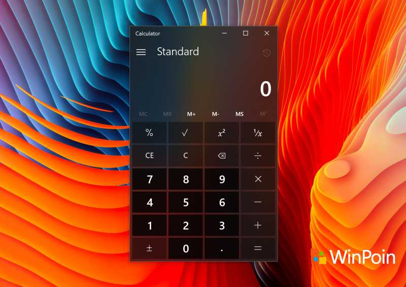 Tampilan Calculator di Windows 10