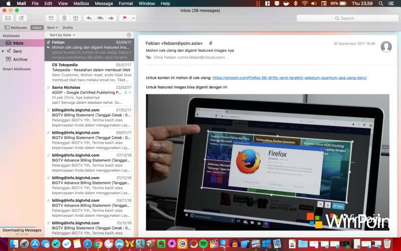 Tampilan Mail di macOS