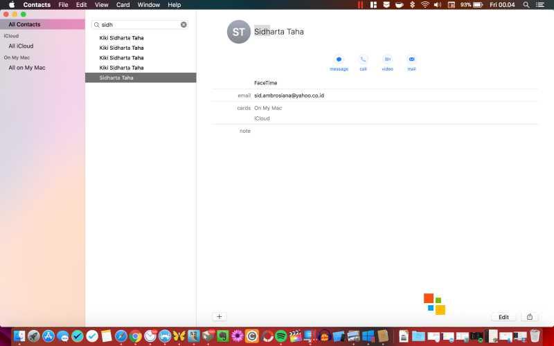 Tampilan Contacs di macOS