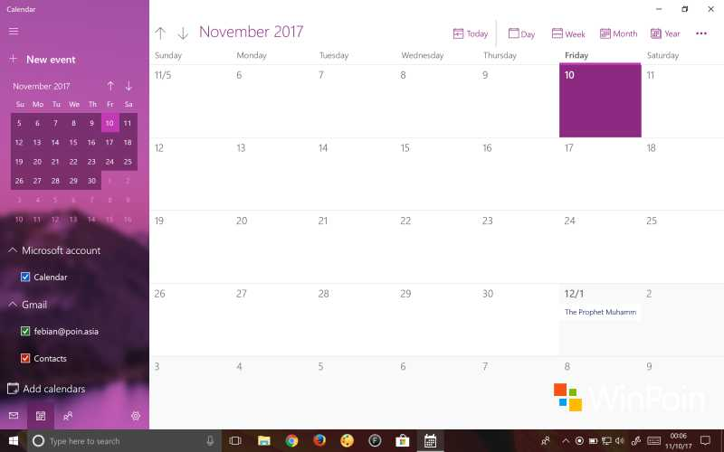 Tampilan Calendar di Windows 10