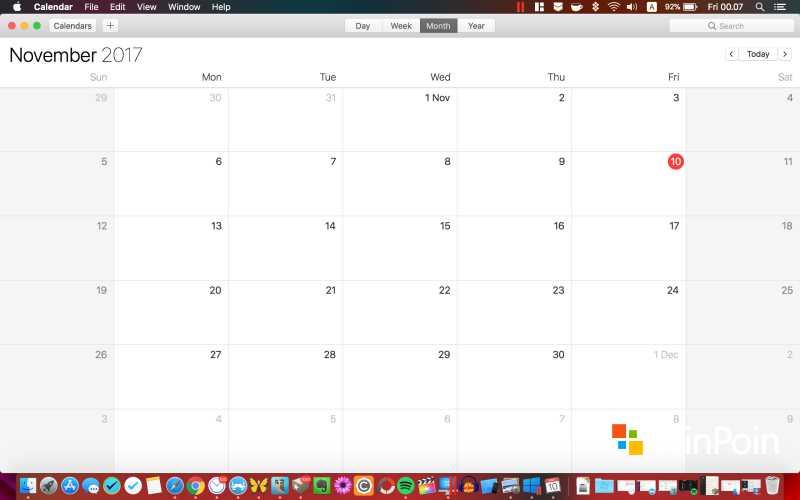 Tampilan Calendar di macOS