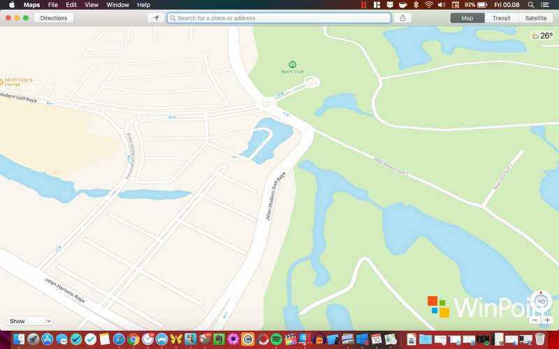 Tampilan Maps di macOS