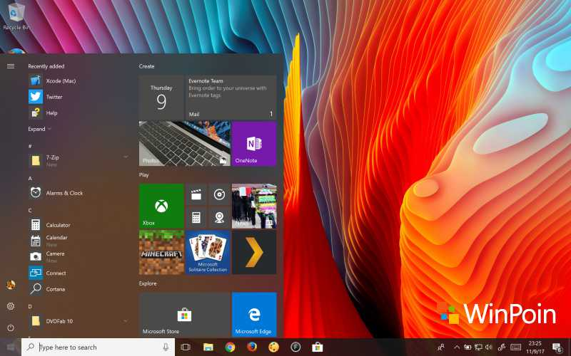 Tampilan Start Menu Windows 10