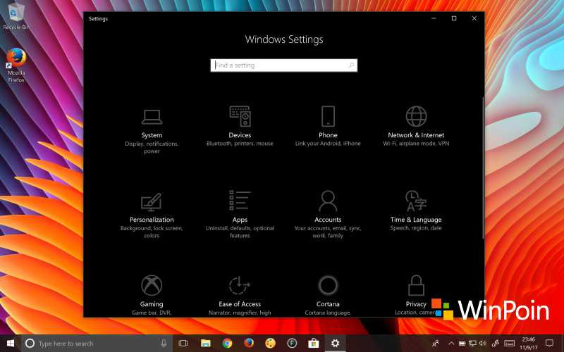 Tampilan Settings di Windows 10