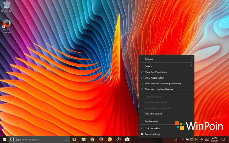 Tampilan Taskbar Windows 10