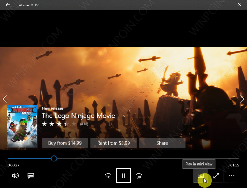 Cara Menjalankan Fitur Mini View di Windows 10 Movies & TV app (2)