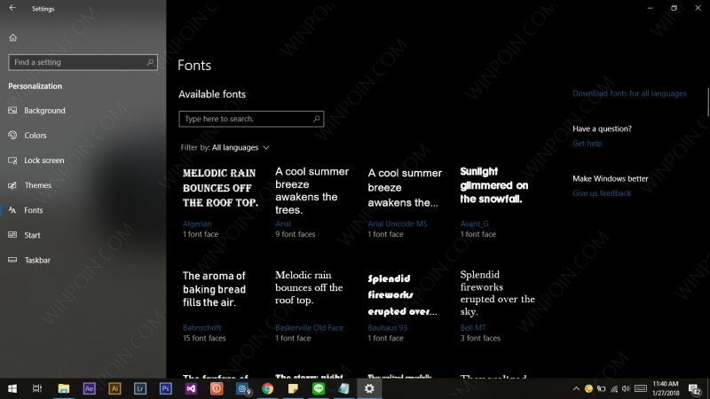 Windows 10 Build 17083 Konfigurasi Font Melalui Settings (1)