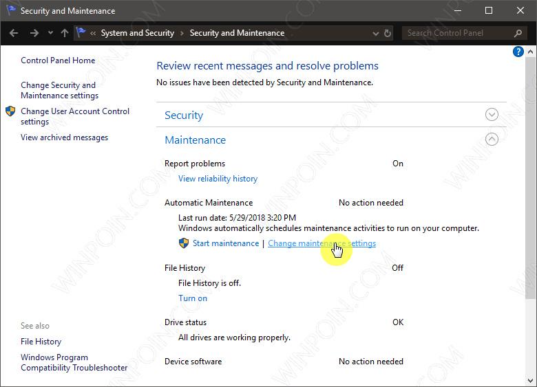 Cara MengaktifkanMematikan Maintenance Otomatis di Windows 10 (1)