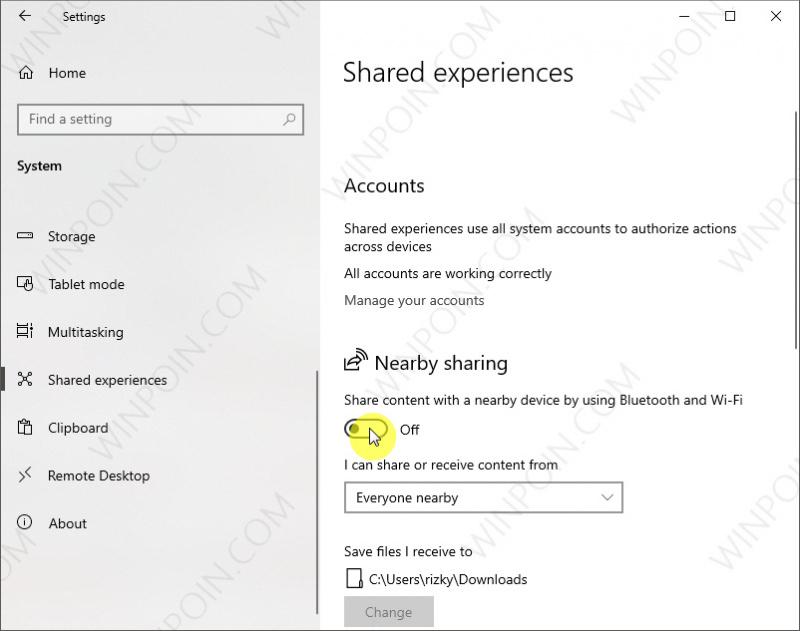 Cara Mematikan Nearby Sharing di Windows 10 (1)