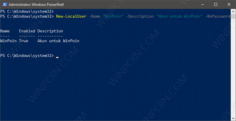 Membuat User Baru di Windows 10 dengan PowerShell