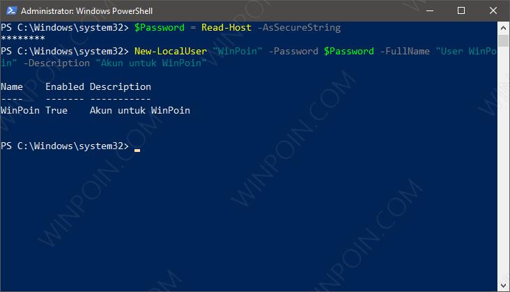 Cara Membuat User Baru di Windows 10 dengan PowerShell (3)