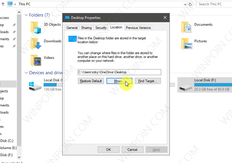 Cara Memindahkan Lokasi Folder Desktop di Windows 10 (3)