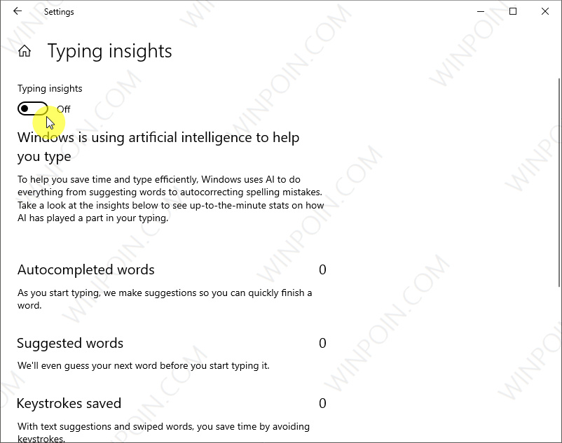 Cara MengaktifkanMematikan Typing Insights di Windows 10 (2)