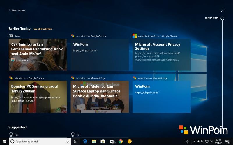 Cara Agar Chrome dan Firefox Masuk ke Timeline Windows 10
